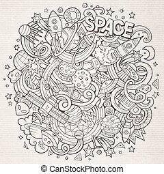 Cartoon hand-drawn doodles Space illustration. Line art...