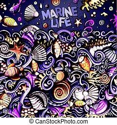Cartoon hand-drawn doodles Underwater life illustration -...