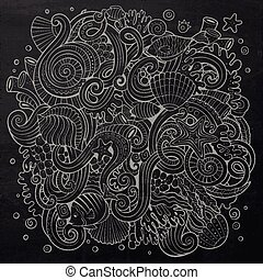 Cartoon hand-drawn doodles Underwater life illustration....