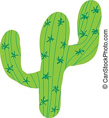 Cartoon hand-drawn green cactus doodle with thorns