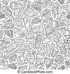 Cartoon hand-drawn ice cream doodles seamless pattern -...