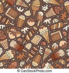Cartoon hand-drawn ice cream doodles seamless pattern. ...