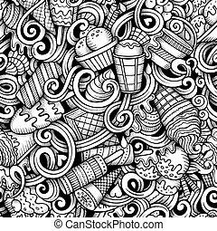 Cartoon hand drawn ice cream doodles seamless pattern. Line...