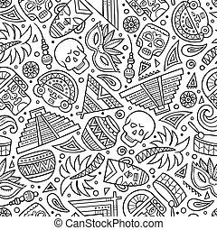Cartoon hand-drawn latin american, mexican seamless pattern...