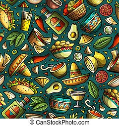 Cartoon hand-drawn latin american, mexican seamless pattern....