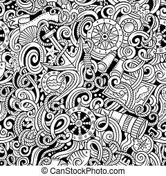 Cartoon hand-drawn nautical doodles seamless pattern....