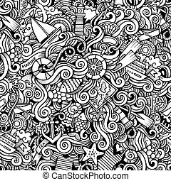 Cartoon hand drawn nautical marine doodles seamless pattern