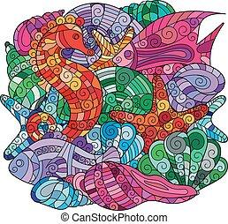 Cartoon hand-drawn ornate doodles. Underwater life illustration.