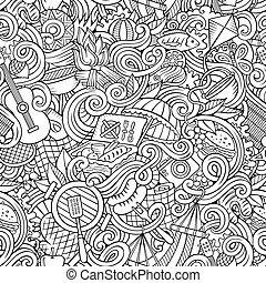 Cartoon hand-drawn picnic doodles seamless pattern - Cartoon...
