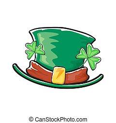 cartoon hand drawn saint patriks hat isolated on white background. st. patriks day sticker