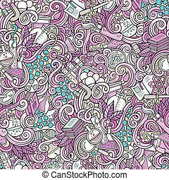 Cartoon hand-drawn science doodles seamless pattern