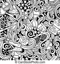 Cartoon hand-drawn science doodles seamless pattern