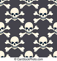 Cartoon hand-drawn skull seamless pattern