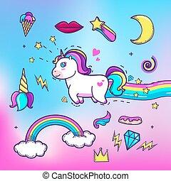 Cartoon hand drawn unicorn with elements