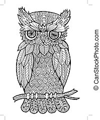doodle illustration of owl