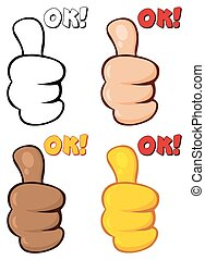Cartoon Hand Giving Thumbs Up Gesture. Collection Set