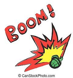cartoon hand grenade and boom