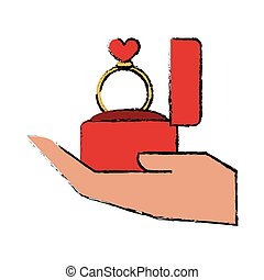 cartoon hand hold engagement box with ring