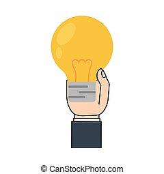 cartoon hand holding bulb light icon