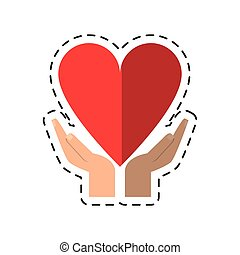 cartoon hand holding heart healthcare