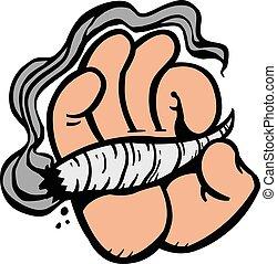Cartoon Hand Holding Smoking Marijuana Weed Leaf Pot Joint vector icon