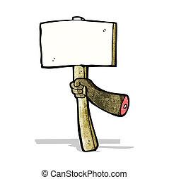 cartoon hand holding sign