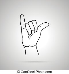 Cartoon hand in shaka gesture, simple outline icon on gray