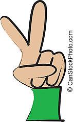 Cartoon Hand making A Peace Sign