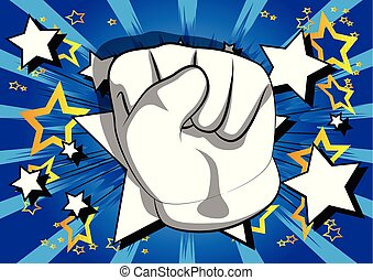 Cartoon hand making power to the people fist gesture.
