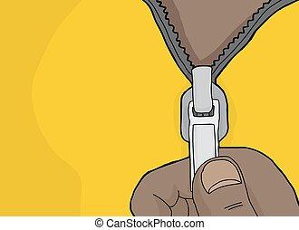 Cartoon Hand Opening Zipper