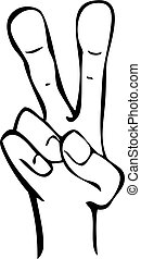 Cartoon Hand Peace Symbol