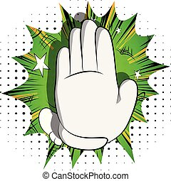 Cartoon hand showing deny or refuse gesture.