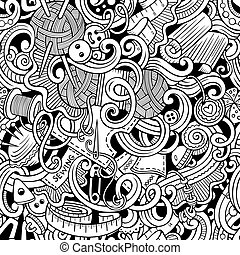 Cartoon handmade and sewing doodles seamless pattern