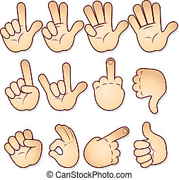 Cartoon hands collection-vector icon set