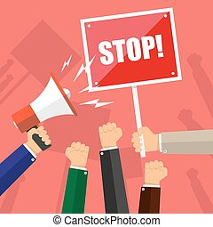 Cartoon hands of demonstrants, hand with Megaphone and stop sign, protest concept, revolution, conflict, vector illustration in flat design on red background