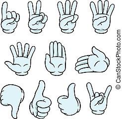 Set of cartoon hands showing various gestures.