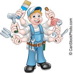 A cartoon handyman holding lots of tools