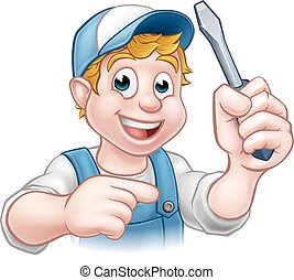 Cartoon Handyman Electrician Holding Screwdriver
