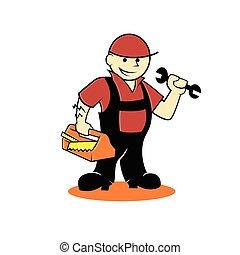 cartoon, handyman, hos, redskaberne