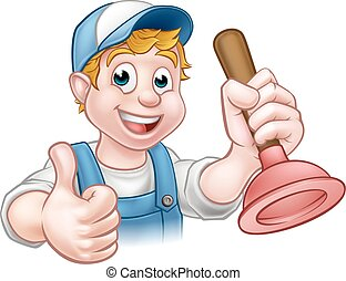 Cartoon Handyman Plumber Holding Plunger
