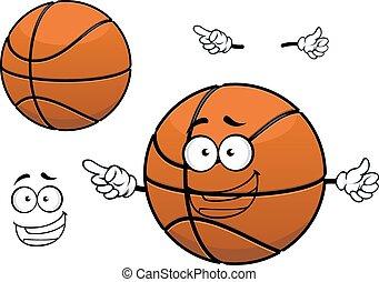 Cartoon happy basketball ball mascot character
