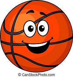 Cartoon happy basketball ball