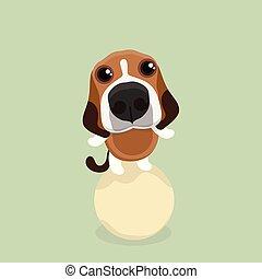 Cartoon happy beagle dog.