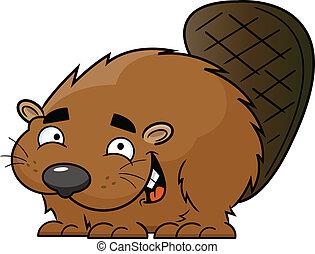 Cartoon Happy Beaver
