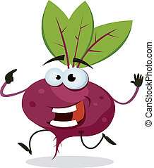 Illustration of a funny happy cartoon red beet vegetable character running