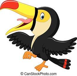 Cartoon happy bird toucan