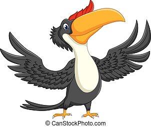 Cartoon happy bird toucan - illustration of Cartoon happy...