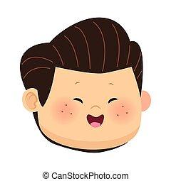 cartoon happy boy face smiling, colorful design