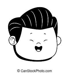 cartoon happy boy face smiling, flat design