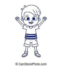cartoon happy boy icon, flat design